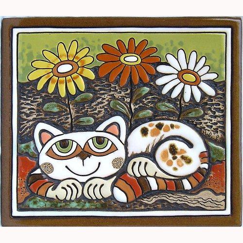 Keramický obrázek - Kočka a kopretiny K-123-Z