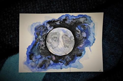 Měsíc (akvarel)