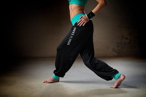 Sportovní funkční kalhoty Primary black aquamarine