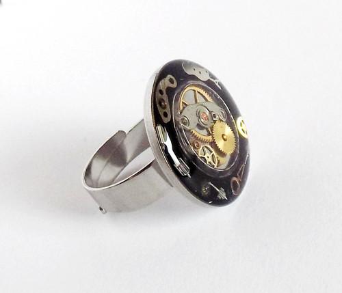 Maxi prsten steampunk - chirurgická ocel  20 mm