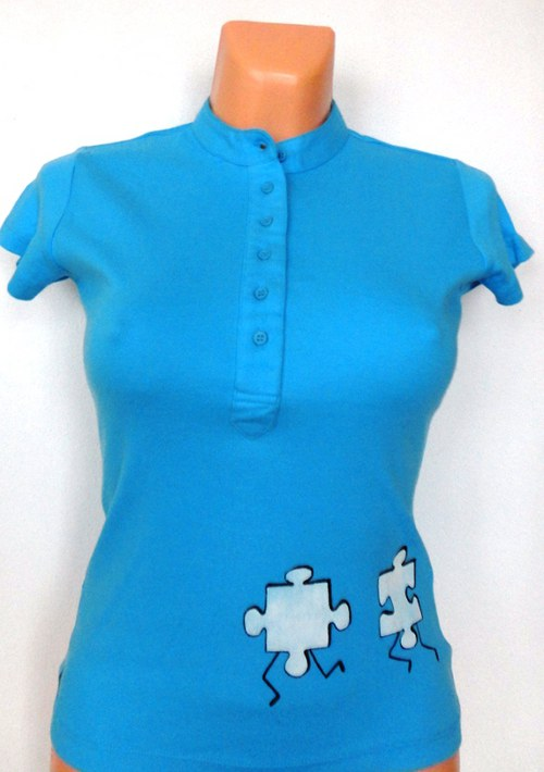 Tričko dámské Běžící puzzle bílé