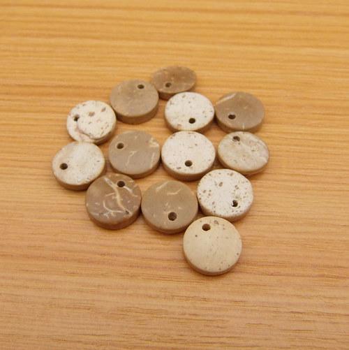 Kokosové penízky  - 10 mm - přírodní, světlé