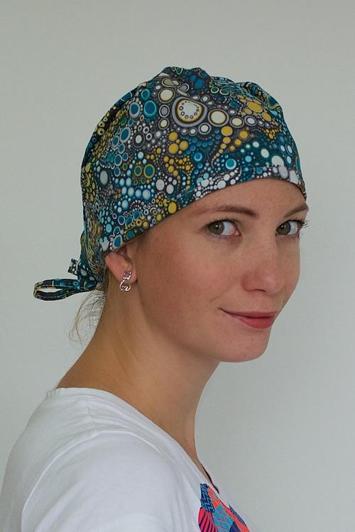Chirurgická čepice - Batikovaná modro-šedá