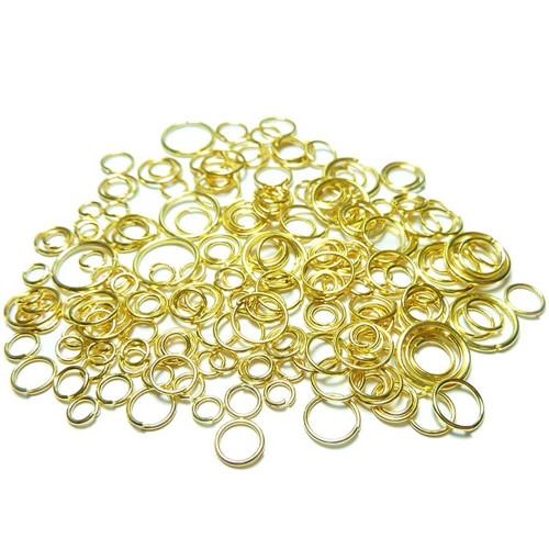 10g Kroužky zlaté barvy mix velikostí 410mm