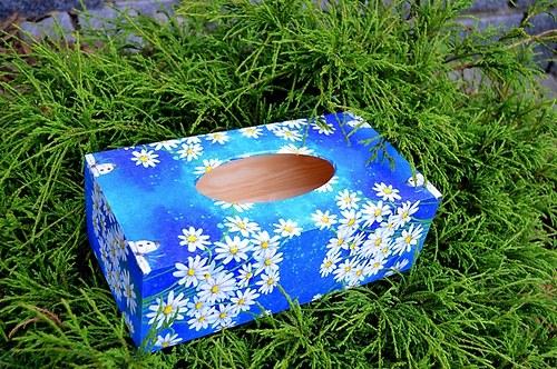Krabička na kapesníky - kopretiny na  modré