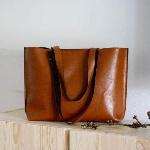 Kožená kabelka Lea (koňaková hnedá)