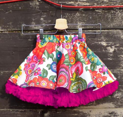 Mini verze FuFu sukně květy s pink spodničkou
