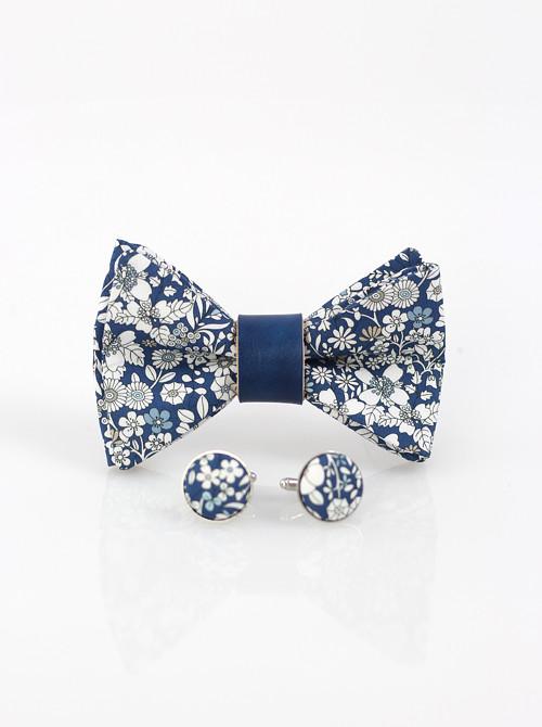 Exkluzívny set - pánsky modrý kvetinový motýlik