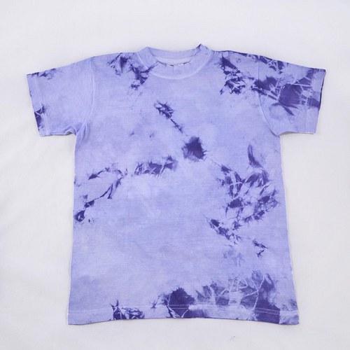 Modrofialové batikované dětské tričko (10 let)