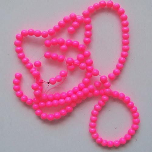 skleněné korálky LESK/ růžová neon / 8mm/14ks