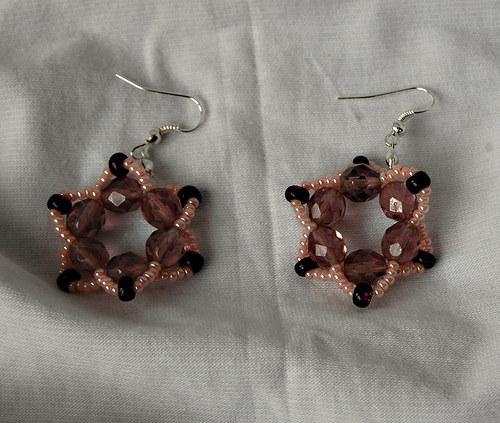 Naušnice kytičky růžovo-fialové