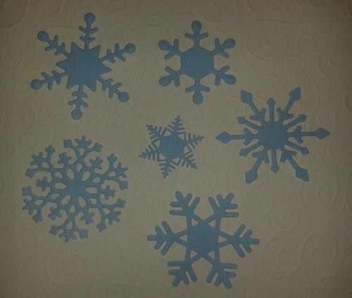 Sněhové vločky - modrá sada