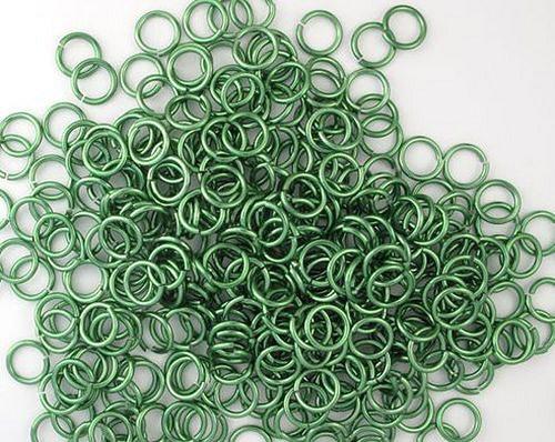 kroužky eloxovaný hliník 4/1,2 mm sv. zelená 100ks