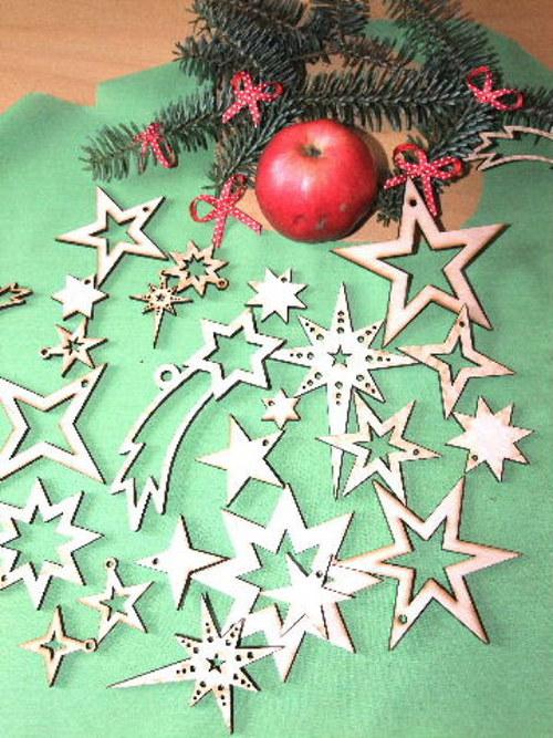 Vánoční dřevěné ozdoby HVĚZDY-6 druhů/18 kusů