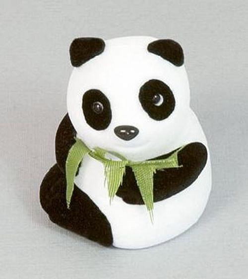 Panda s bambusem - sametová krabička na šperky