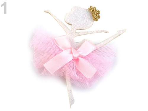 Textilní aplikace baletka (1ks) bílá