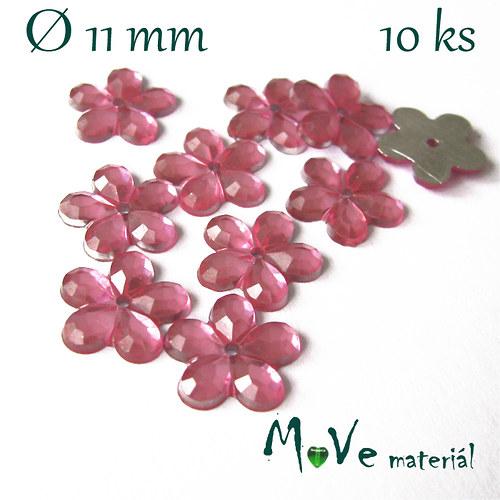 Květina plast Ø11mm našívací  10 ks světle růžová
