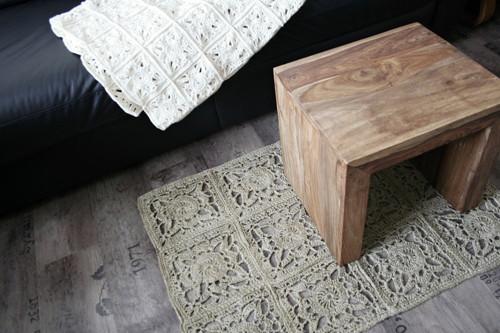 Lněný kobereček  z ručně předené příze-sleva