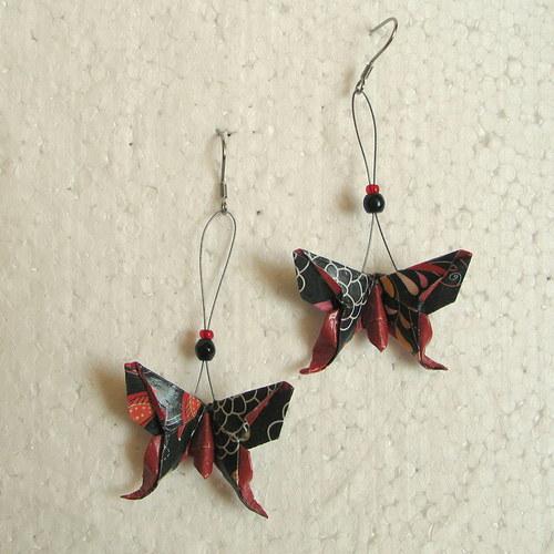Motýlí štěstí - origami náušnice