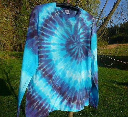 Batikované tričko Modrá spirála, XXL