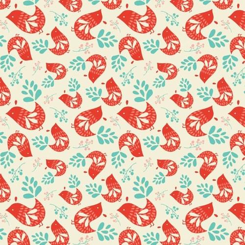 Látka Folklore smetanová s červenými ptáčky