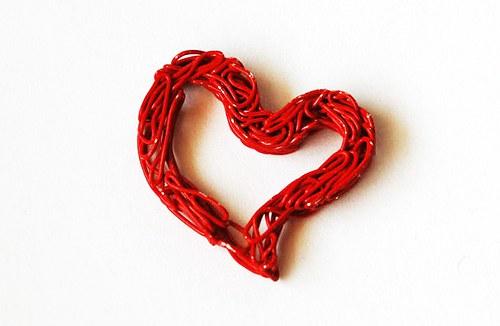 Srdíčko z drátu - červené