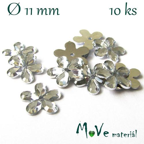 Květina plast Ø11mm našívací  10 ks crystal