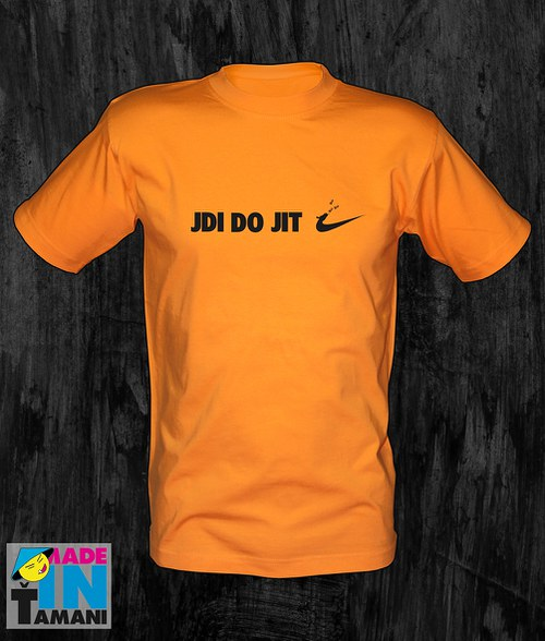 Pánské oranžové tričko Jdi dojit 02