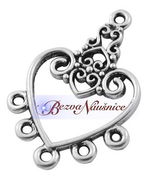 Ozdobné ramínko, srdce - stříbrná antik