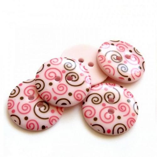 Plastové knoflíky růžové se vzorem 23mm