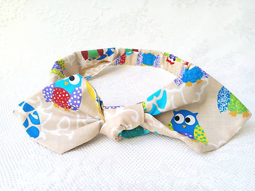Pin Up headband on elastic (funny owls)