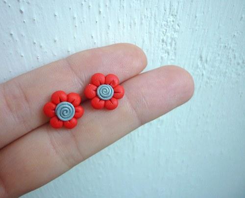 Drobné květinky - Červená & šedá