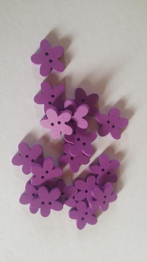 Dřevěná kytička fialová (4 ks)