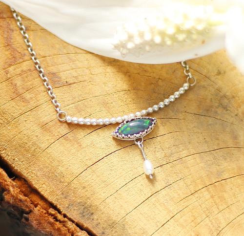 Přírodní černý opál - náhrdelník - stříbro925