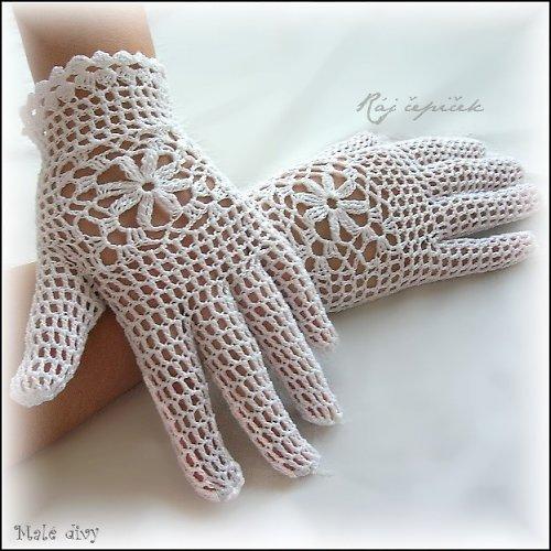 Háčkované krajkové rukavičky Staré časy