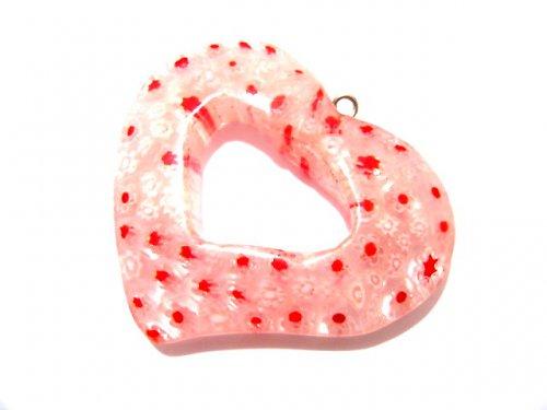 1104037/Millsefiori srdce bílo/červené, 1 ks