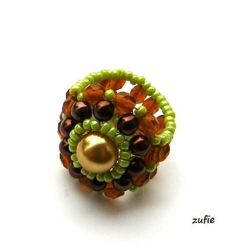 Prsten hnědozelený 6 cm