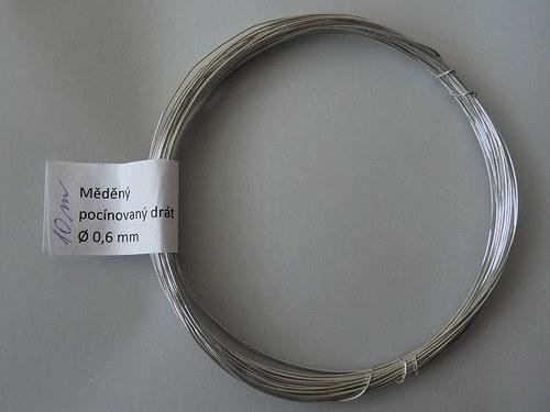 Měděný pocínovaný drát tl. 0,6 mm 10 m