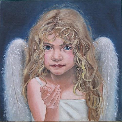 Anděl strážný, (reprodukce 30x30 cm)