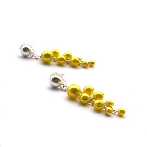 Sluníčkové perličkové hrozínky - klipsové náušnice