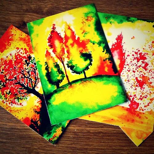 hořící stromy - sada pohlednic