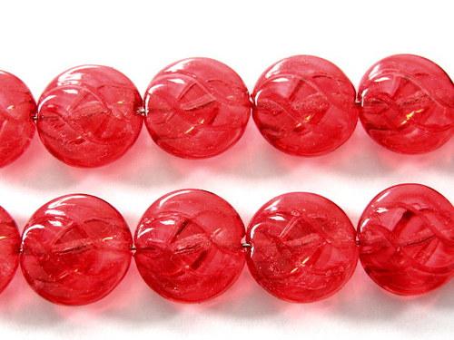 0300930/Mačkaná placička s vlnkami červená, 6 ks