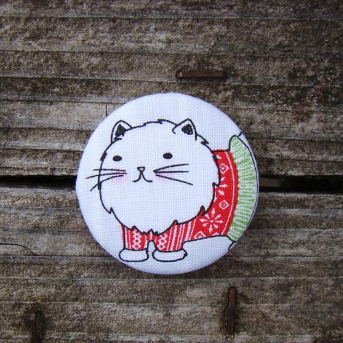 Knoflík buttonek (velký 40mm) - Kočka v sukni