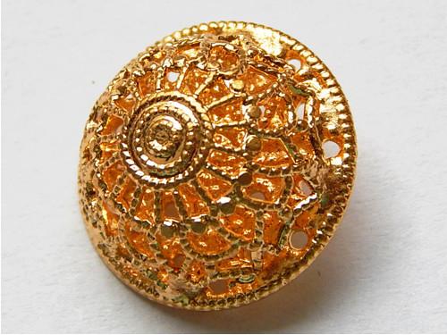 Knoflík, barva zlatá, polokoule, slitina kovů