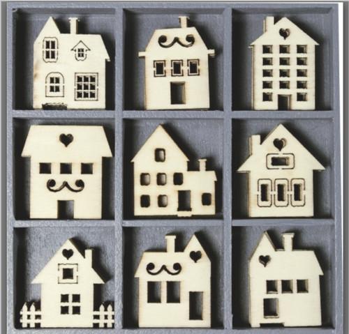 Sada dřevěných výřezů, domečky, 9 motivů