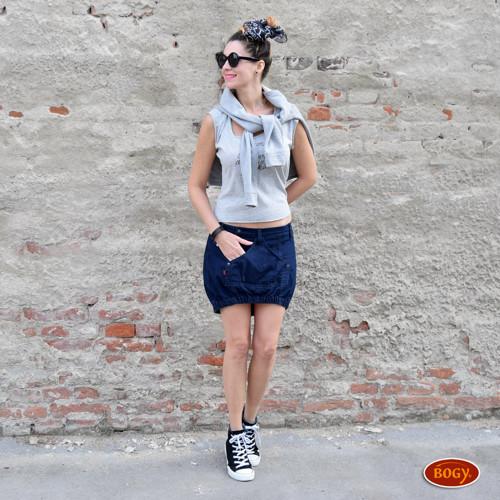 riflová odlehčená sukně s klokanem, vokuhila NABL