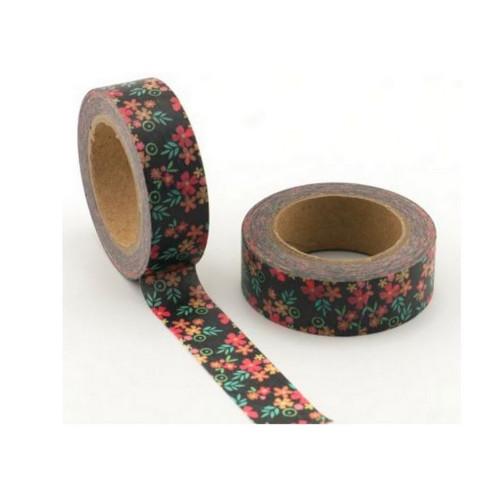 Washi páska / Černá s barevnými kytičkami