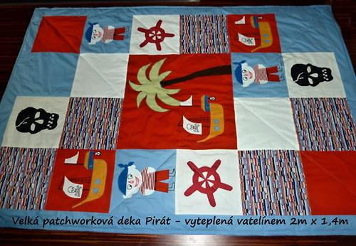 Velká deka přehoz Pirát s lebkou patchwork