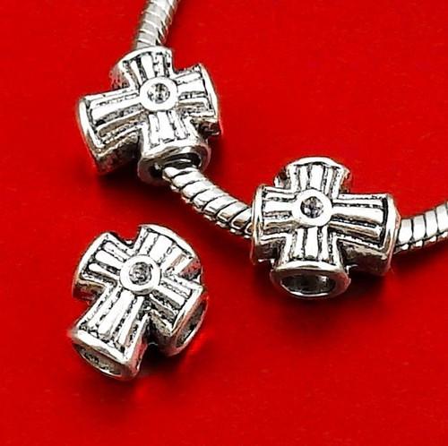 Korálek s velkým otvorem - křížek, 2 ks, VÝPRODEJ!