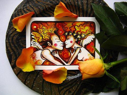 Andělé- pohlednice
